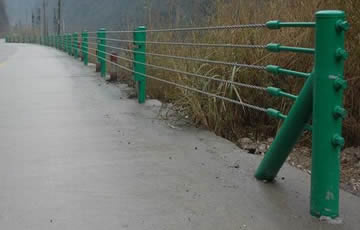 Green Coated Cable Guardrail Posts