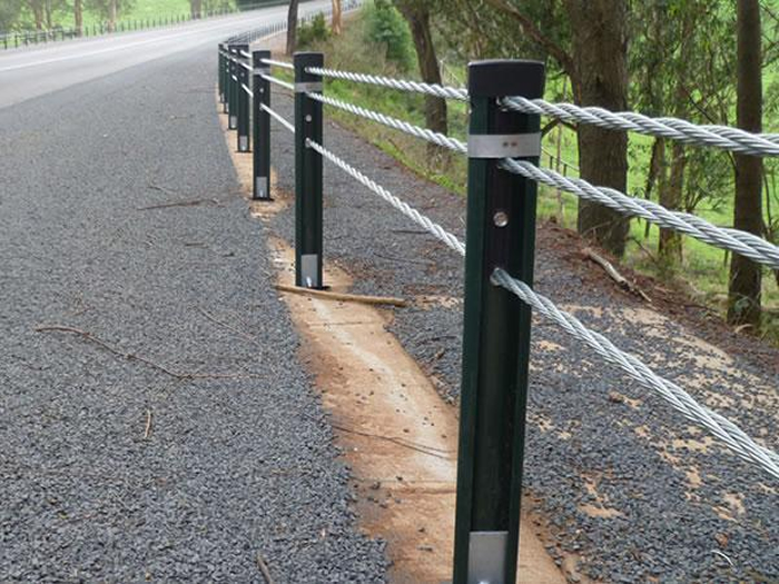 Galvanized wire cable guardrail barriers with high tension
